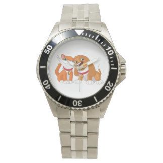 Relógio bonito do cão e gato