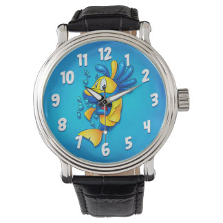 Relógio bonito dos desenhos animados dos peixes