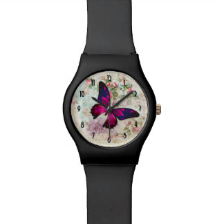 Relógio Borboleta cor-de-rosa e rosas gastos do vintage