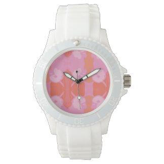Relógio branco com rosa do cockatoo, design do