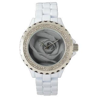 Relógio branco do rosa do esmalte do cristal de