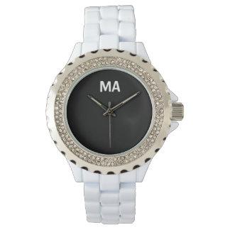 Relógio branco MagicAmour do cristal de rocha