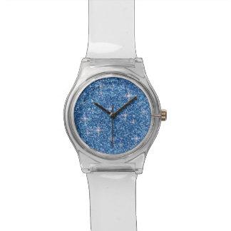 Relógio Brilho iridescente azul