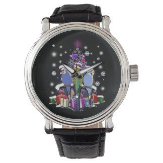 Relógio Budgerigars com presente e flocos de neve do Natal