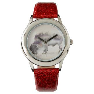 Relógio búfalo-paisagem exposição-americana Búfalo-dobro