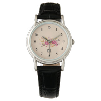 Relógio Buquê cor-de-rosa e alaranjado da flor no fundo do