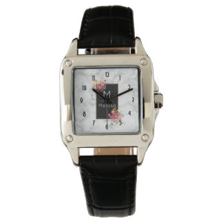Relógio Buquês de canto florais cor-de-rosa no costume