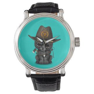 Relógio Caçador bonito do zombi de Cub da pantera preta