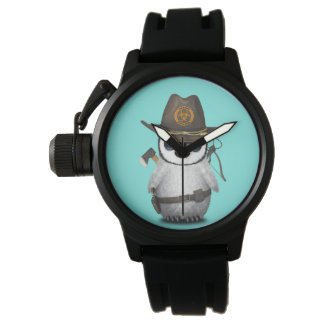 Relógio Caçador do zombi do pinguim do bebê
