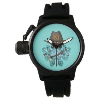 Relógio Caçador do zombi do polvo do bebê azul