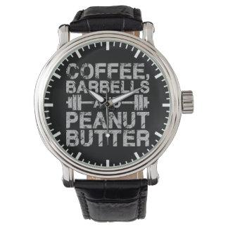 Relógio Café, Barbells e manteiga de amendoim - exercício