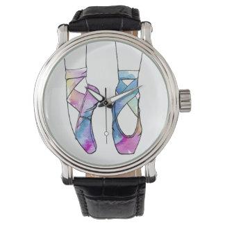 Relógio Calçados de balé bonitos da dança da aguarela para