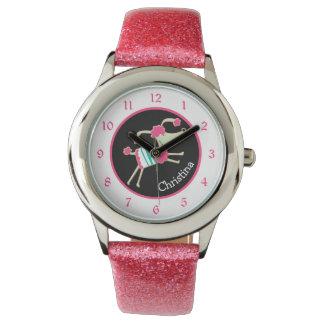 Relógio Caniche cor-de-rosa bonito miúdos personalizados