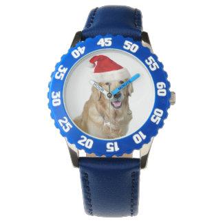 Relógio Cão-animal de estimação do cão-papai noel de claus