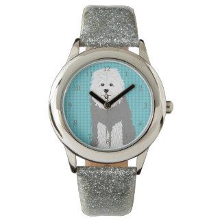 Relógio Cão de carneiros inglês velho