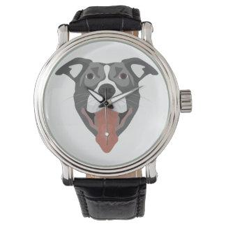 Relógio Cão Pitbull de sorriso da ilustração
