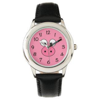 Relógio Cara cor-de-rosa do porco