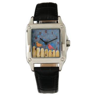 Relógio Cardeais na pintura da cerca - arte original