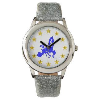 Relógio Cartão da união Européia com círculo de estrela