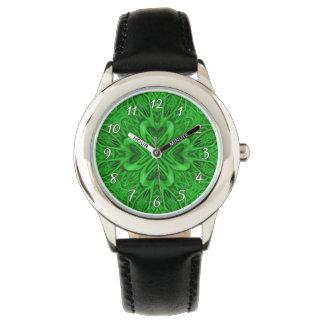 Relógio celta dos miúdos   do vintage do verde do