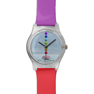 Relógio Chakras e arco-íris - 3D rendem