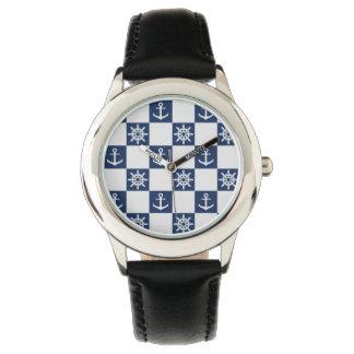 Relógio Checkered branco azul náutico