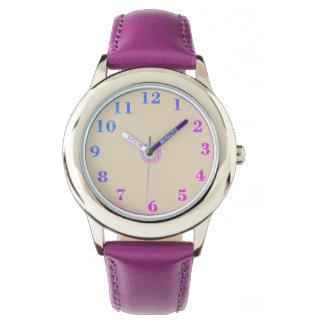 Relógio Children's_Pink_Blue_Numbers