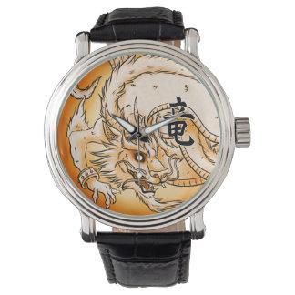 Relógio chinês do couro do vintage do preto do