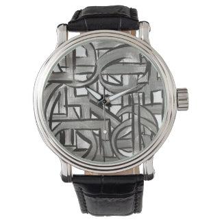 Relógio Cinza-Mão áspera geométrico abstrato pintado