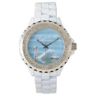 Relógio Cisne branca elegante nome personalizado
