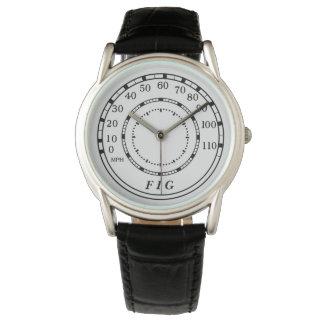 Relógio clássico do monograma do velocímetro do