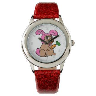 Relógio Coelho do traje do cão