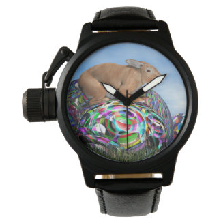 Relógio Coelho em seu ovo colorido para a páscoa - 3D