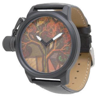 Relógio Colagem bonita do Fractal de um outono de Origami