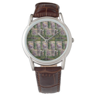 Relógio Colagem da foto do Hippopotamus, couro dos homens