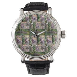 Relógio Colagem da foto do Hippopotamus, homens