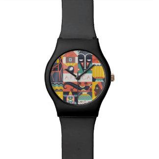 Relógio Colagem simbólica africana da arte