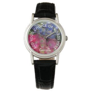 Relógio colorido personalizado das flores do