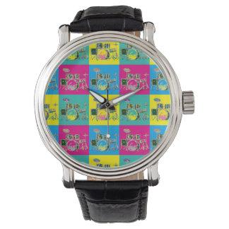 Relógio colorido retro da música do cilindro do