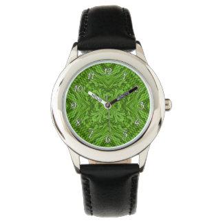 Relógio colorido verde indo dos miúdos do vintage