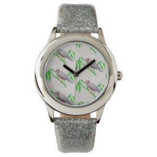 Relógio com motivo de prata da banda e do pássaro