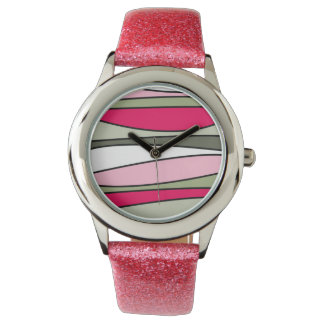 Relógio cor-de-rosa abstrato com a correia