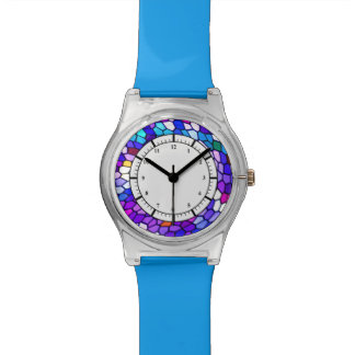 Relógio cor-de-rosa azul roxo do teste padrão do