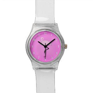 Relógio cor-de-rosa bonito do flamingo das meninas