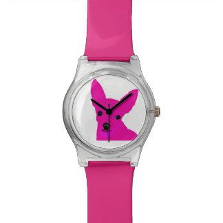 Relógio cor-de-rosa da chihuahua