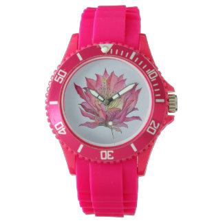 Relógio cor-de-rosa da flor do cacto da aguarela