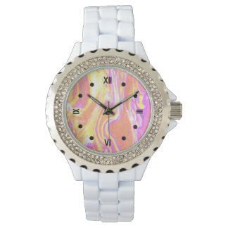 Relógio cor-de-rosa da onda
