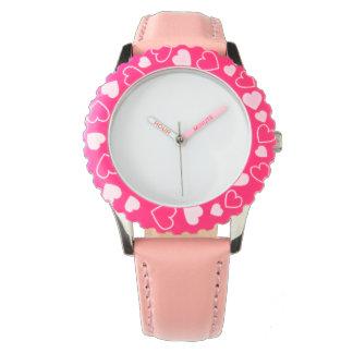 Relógio cor-de-rosa de aço inoxidável do coração,