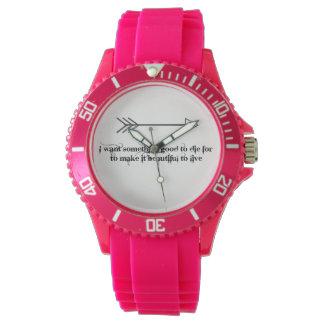 Relógio cor-de-rosa desportivo do silicone das