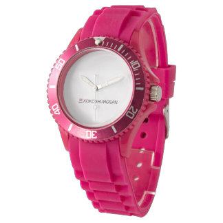 Relógio cor-de-rosa desportivo feito sob encomenda